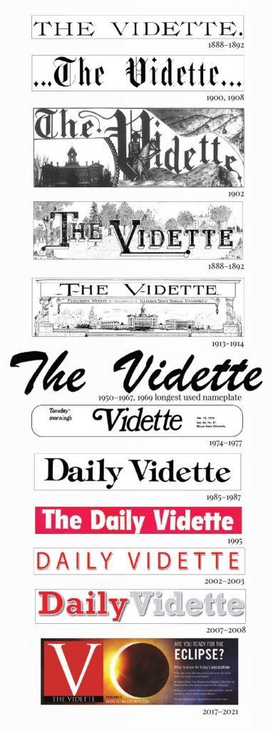 The Vidette mastheads through the years