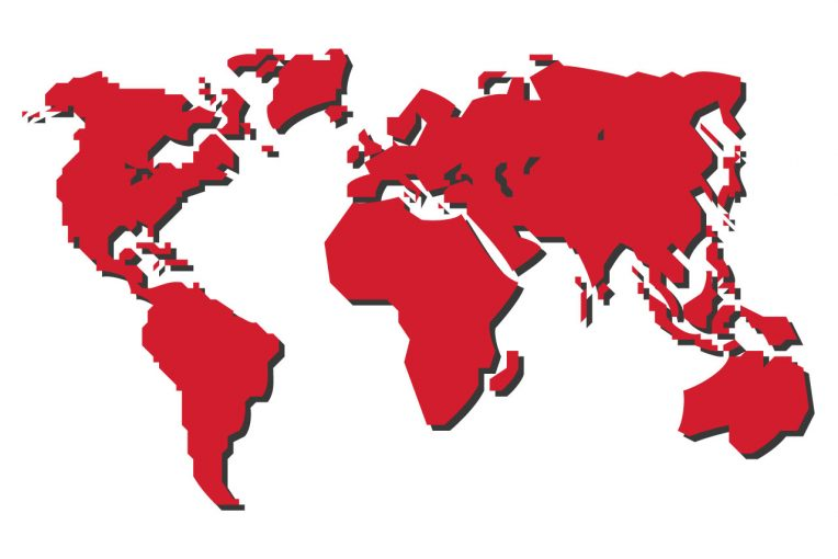 Stylized world map in red.