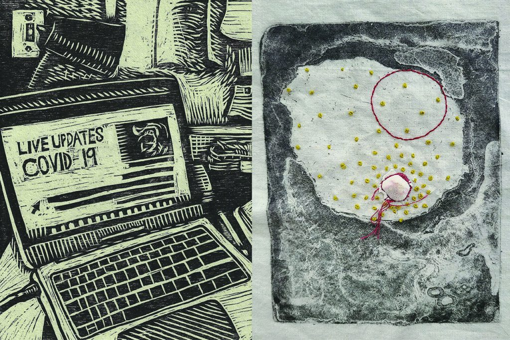 Artwork by graduate students Nicci Arnold and Peytin Fitzgerald for echo exhibition at the Illinois State University Student Art Gallery within the Central Illinois Regional Airport.
