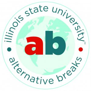 Illinois State University Alternative Breaks logo with ab in the middle over an image of the globe