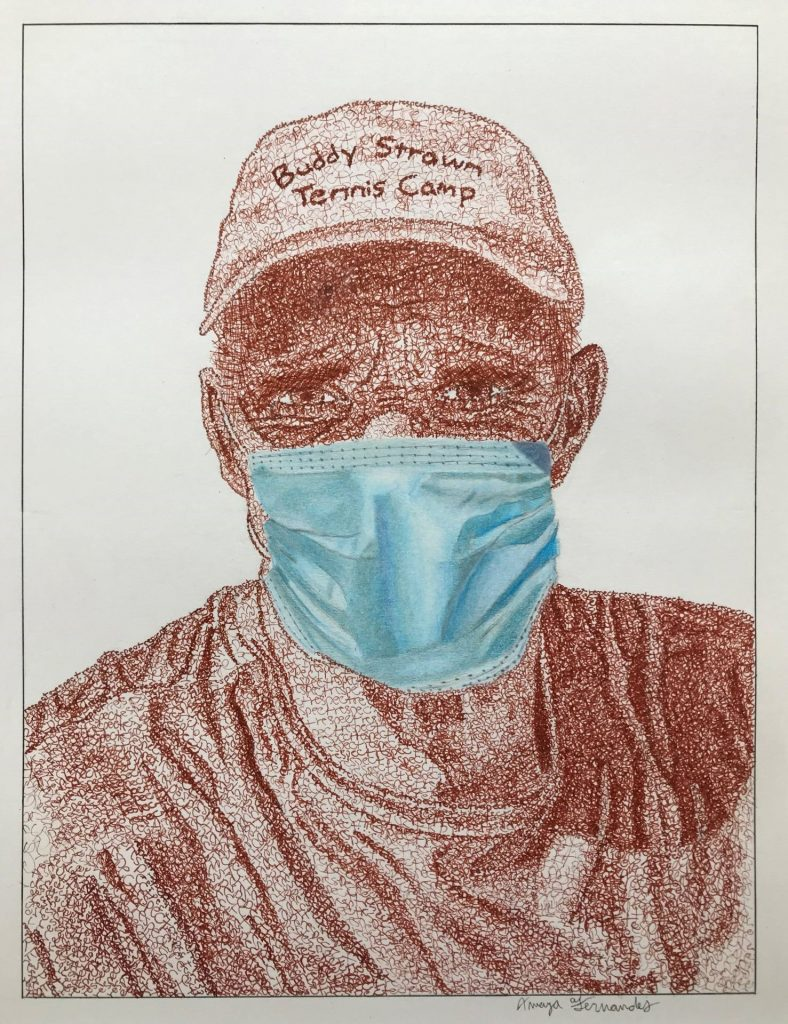 artist rendering of a tennis coach wearing a hat and face mask