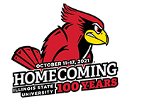 Homecoming 2021 logo with Reggie Redbird and the words October 11-17, 2021 Homecoming 100 Years Illinois State University