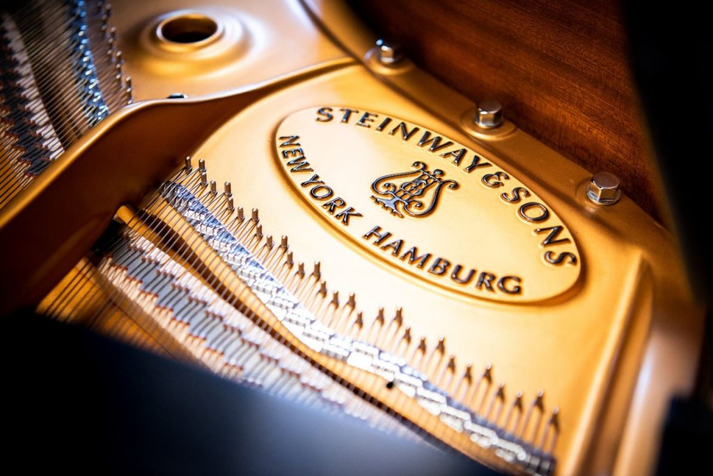 View of the piano plate depicting the Steinway & Sons logo
