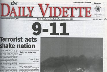 Cover of the 9/12/2001 issue of The Vidette.