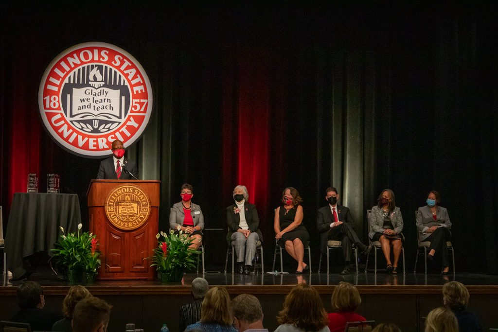 Speakers and inductees at the 2021 Steve and Sandi Adams Legacy Hall of Fame ceremony