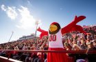 A mascot with its hands in the air.