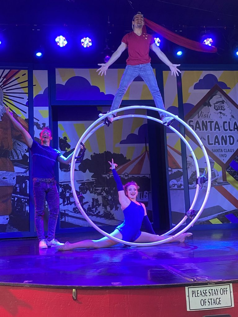 Circus performers onstage at Holiday World