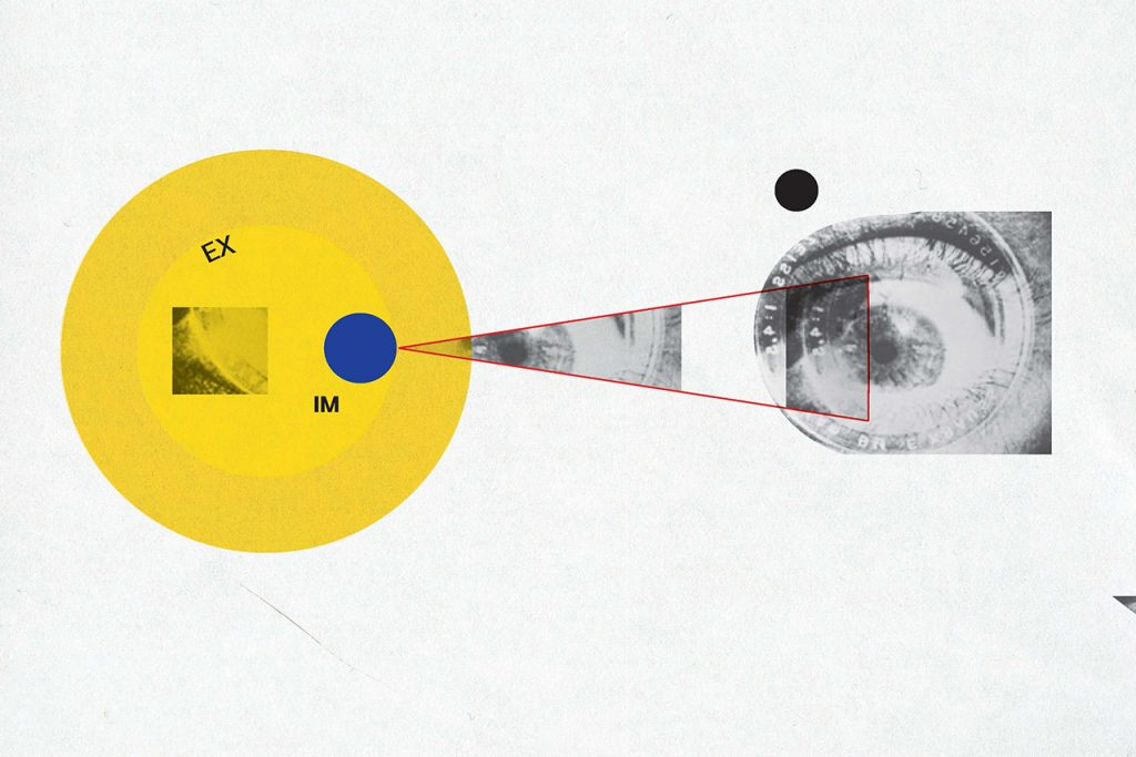 Image from Speaker Series poster: Experiencing Images. Image depicts how images are reflected in the eye.