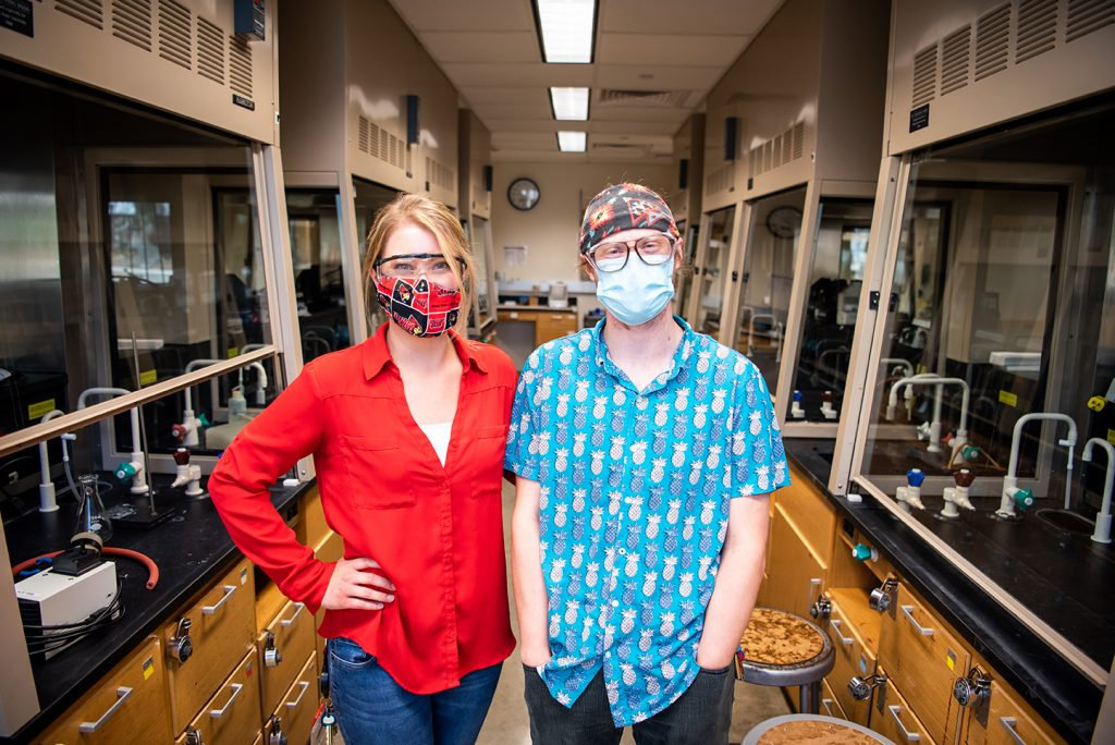 Portrait of Aly Hearn and David Kukla in the science lab.