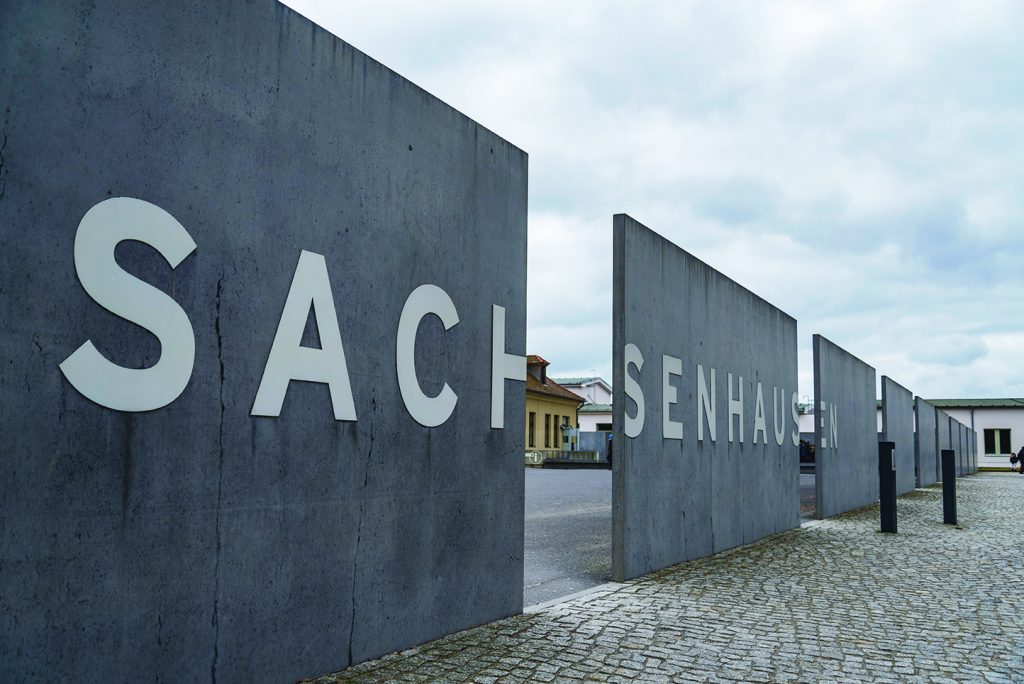 Nazi concentration camp in Germany. Wall surrounded Sachsenhausen Camp