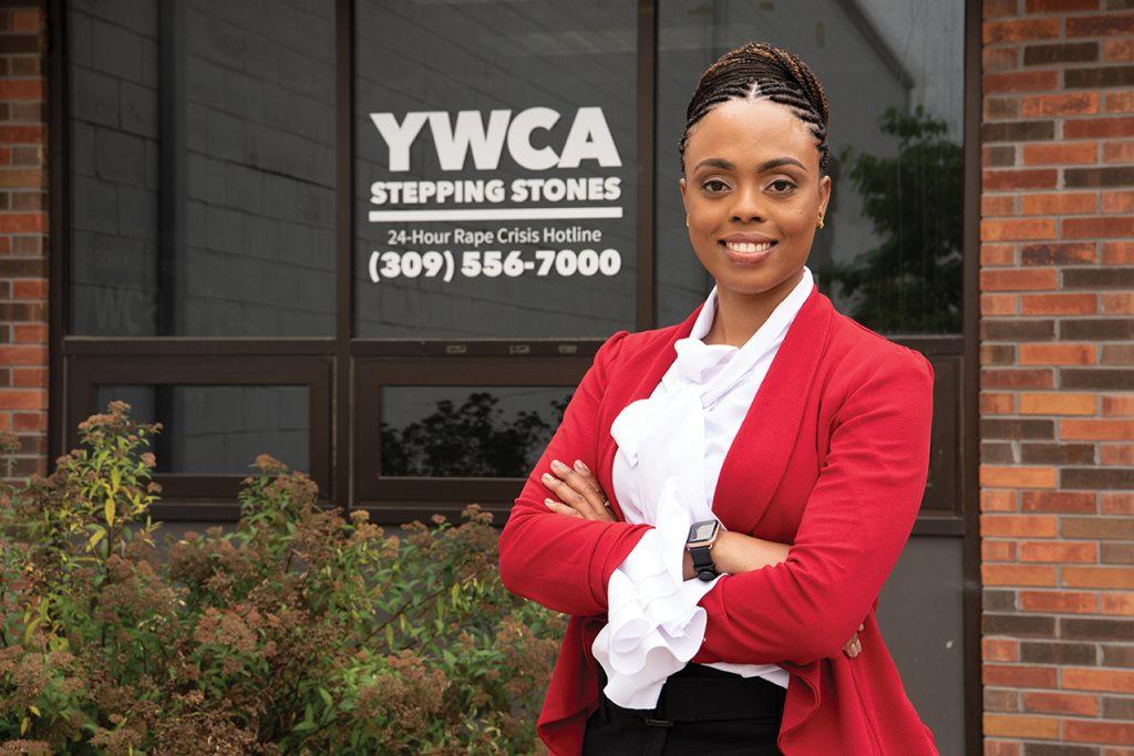 Portrait of Nastasha Powers outside of YWCA building