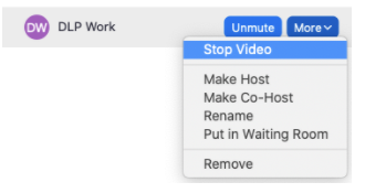 Stop Video setting