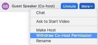 Withdraw Co-host
