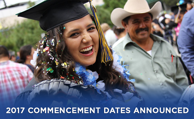 2017 Commencement Dates Announced