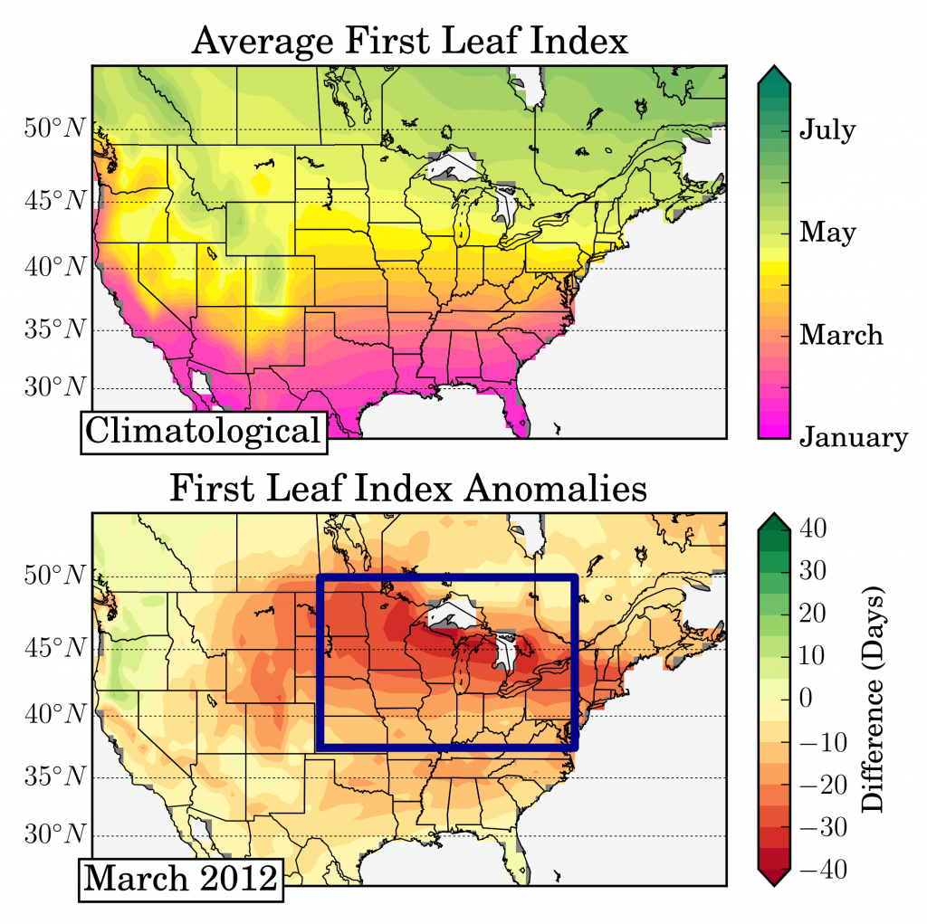 First leaf indices averaged over 1981-2010 (e.g., the start of spring) across the United States. March 2012 first leafs plotted below are nearly 3σ earlier than normal. Figure from Labe et al. [2016].