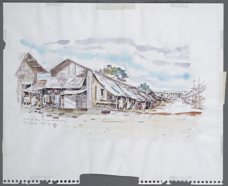 Quang Truong Nguyen, One Corner of Camp Panat Nikhom, 1990. Painting courtesy of the Southeast Asian Archive at the University of California, Irvine.