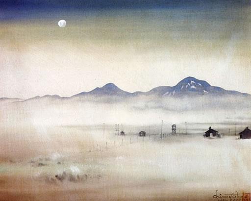 Chiura Obata, Moonlight Over Topaz, 1942.
