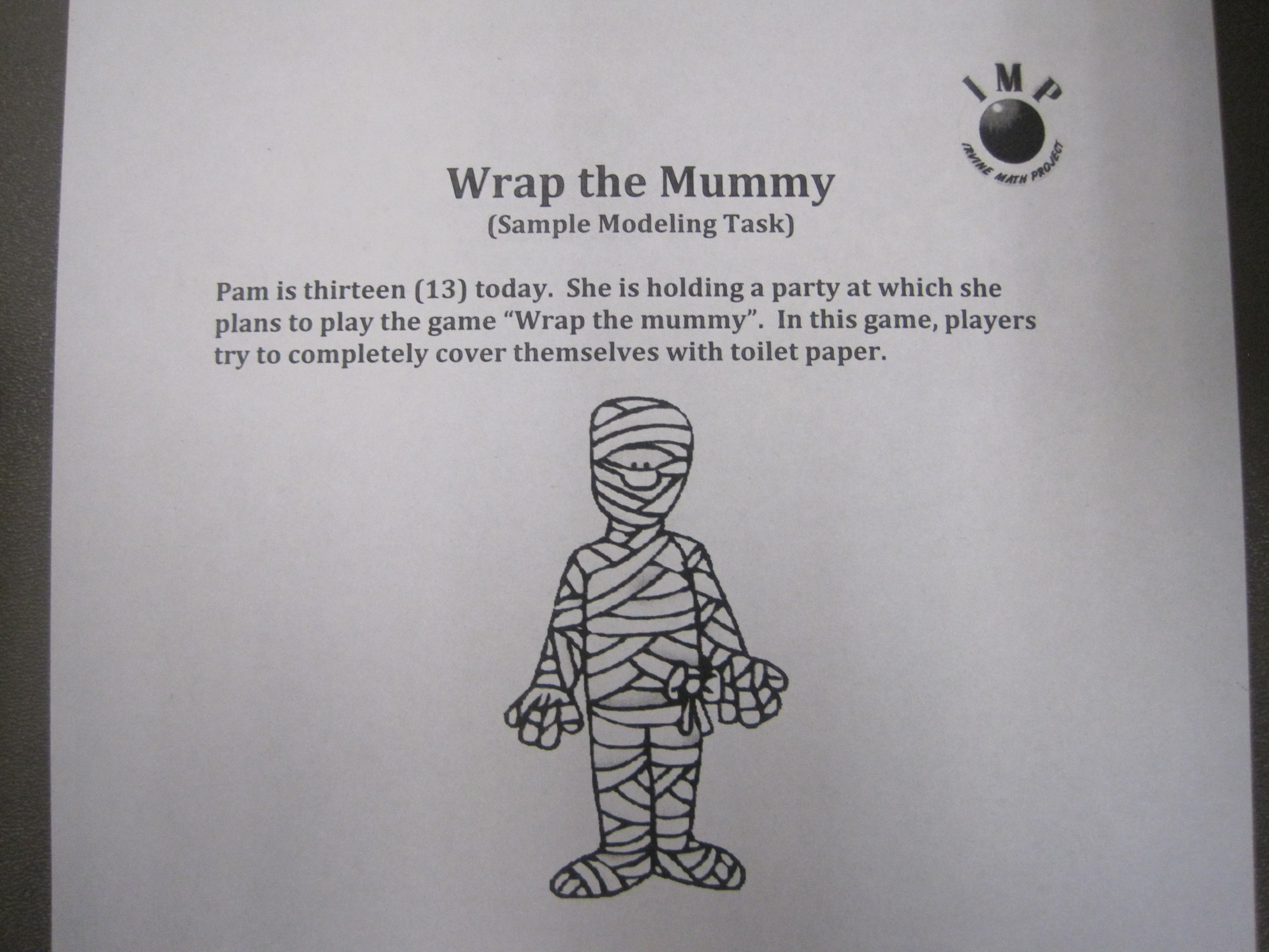7th Grade - Wrap a Mummy Modeling Task