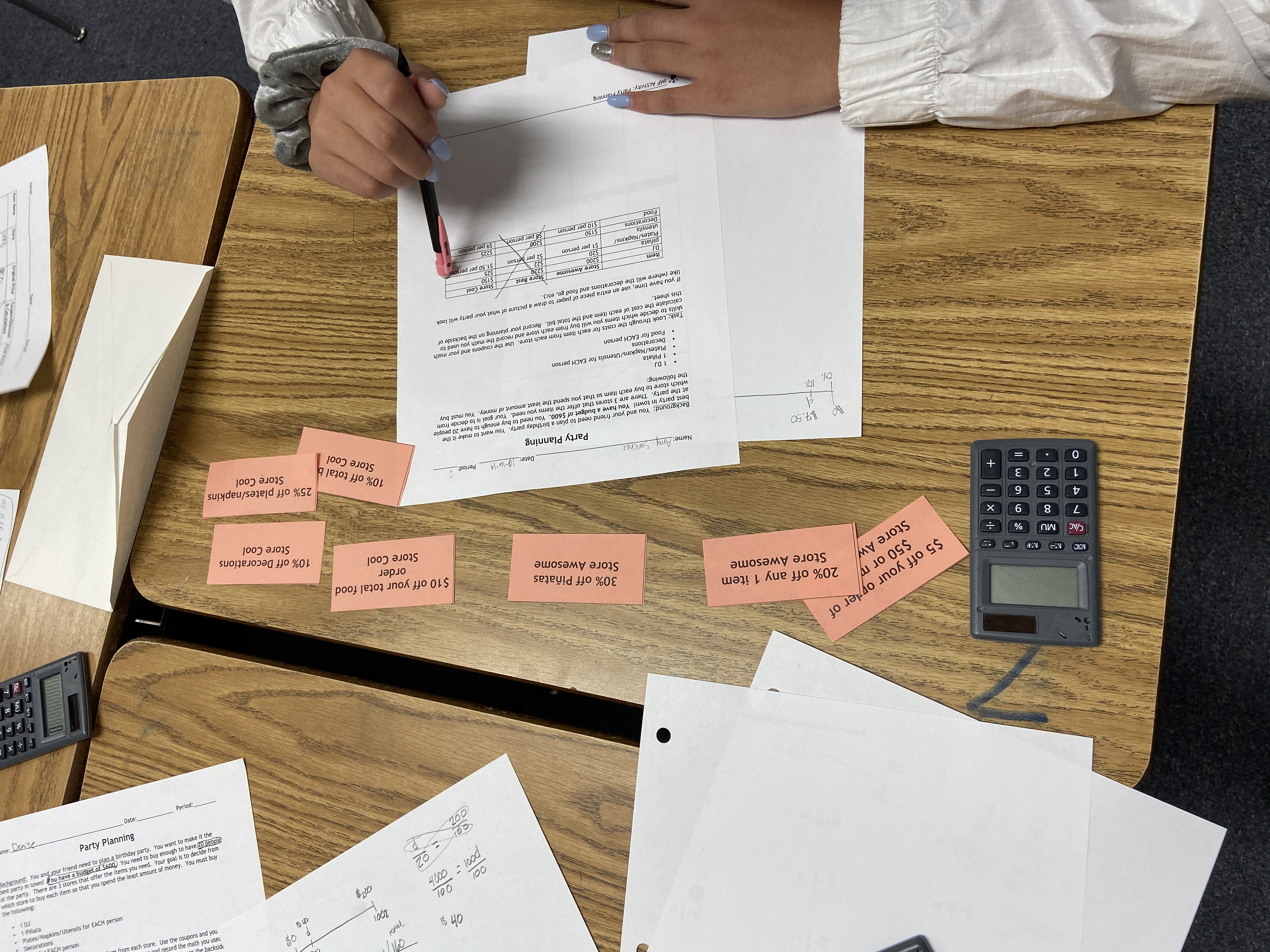 Grade 7 - Party Planning Problem Solving with Percent