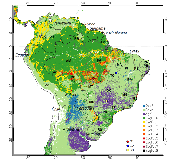 South America land cover change from Chen et al. (2013)