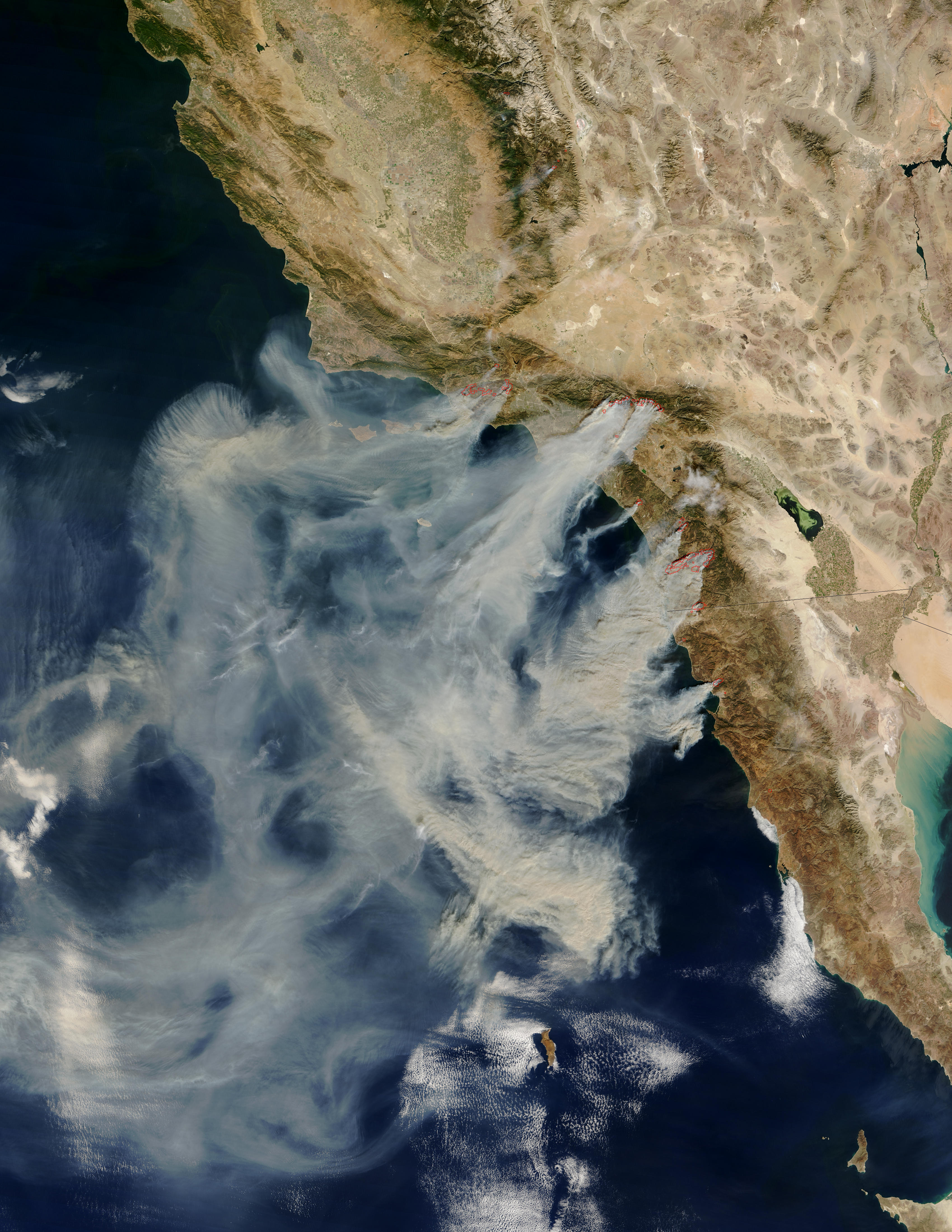 Santa Ana fire smoke plumes. MODIS mage from NASA