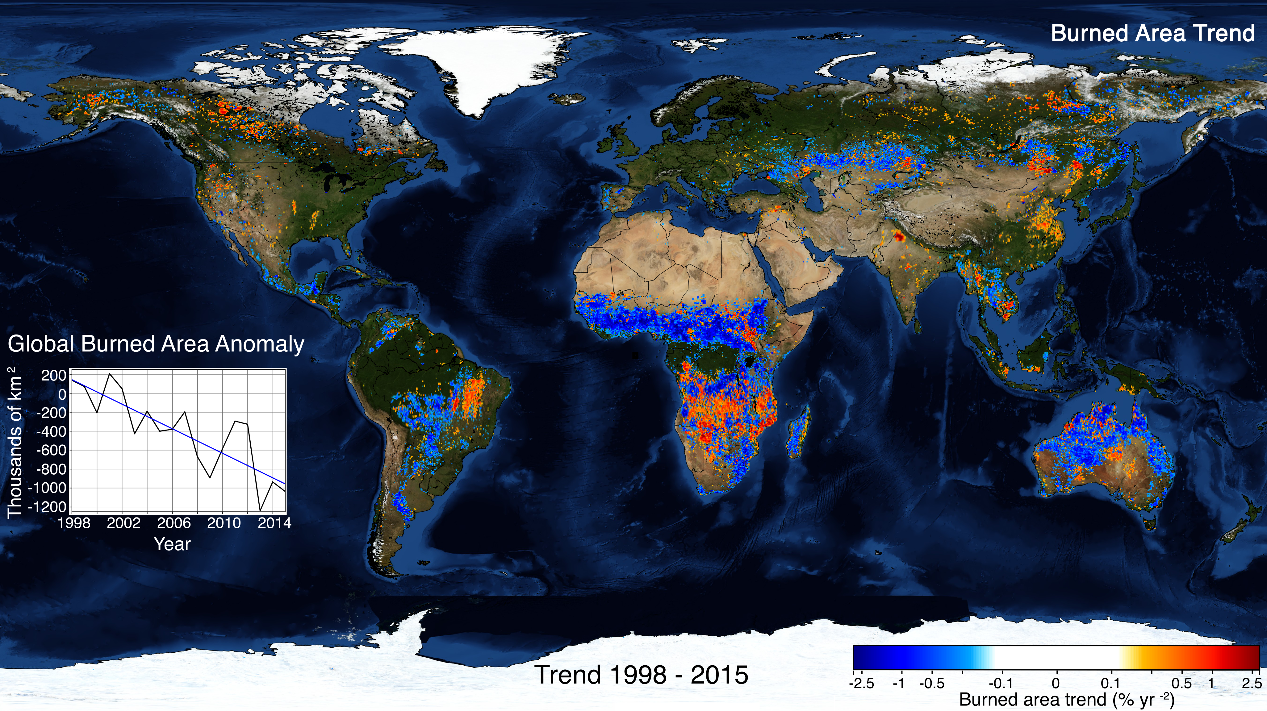Global burned area trends from Andela et al. (2017) published in Science