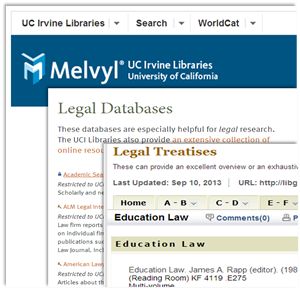 Screenshot of education research sites