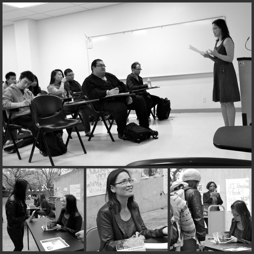 Top: Professor Lieu lectures to the Vietnamese American Experience class. Bottom: the book signing event hosted by the Department fo Asian American Studies and the VAOHP.