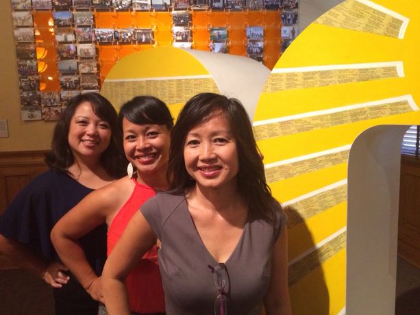 Tram Le, Co-Director/Co-Curator, Trinh Mai, Exhibition Designer & Artist-in-Residence and Linda Trinh Vo, Co-Director/Co-Curator at the new art show, Vietnamese Focus, at the Old Orange County Courthouse. DORIAN MERINA / KPCC