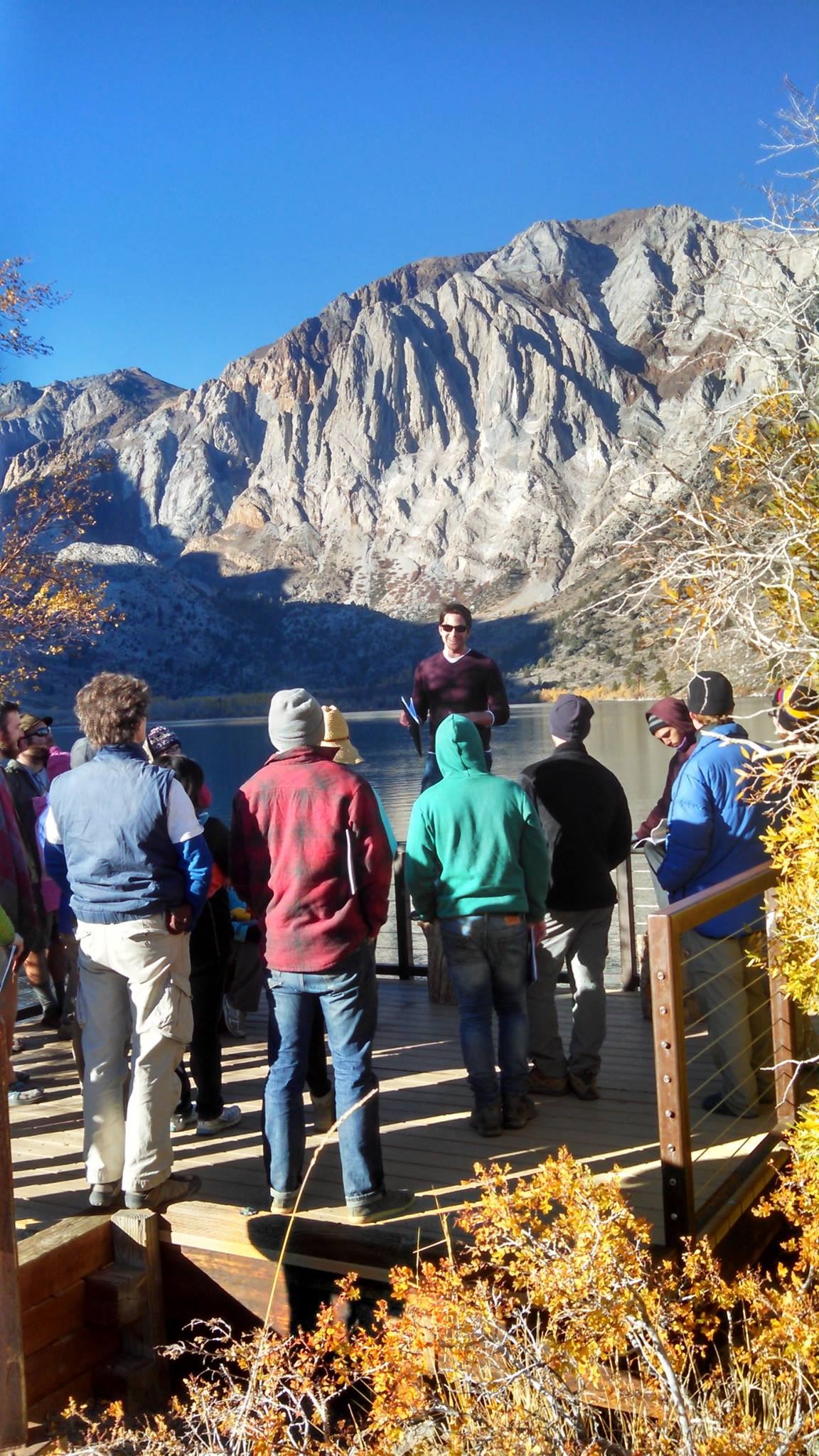 Now for my PhD, here I am presenting for a field course at Caltech on glacial moraines at Convict Lake