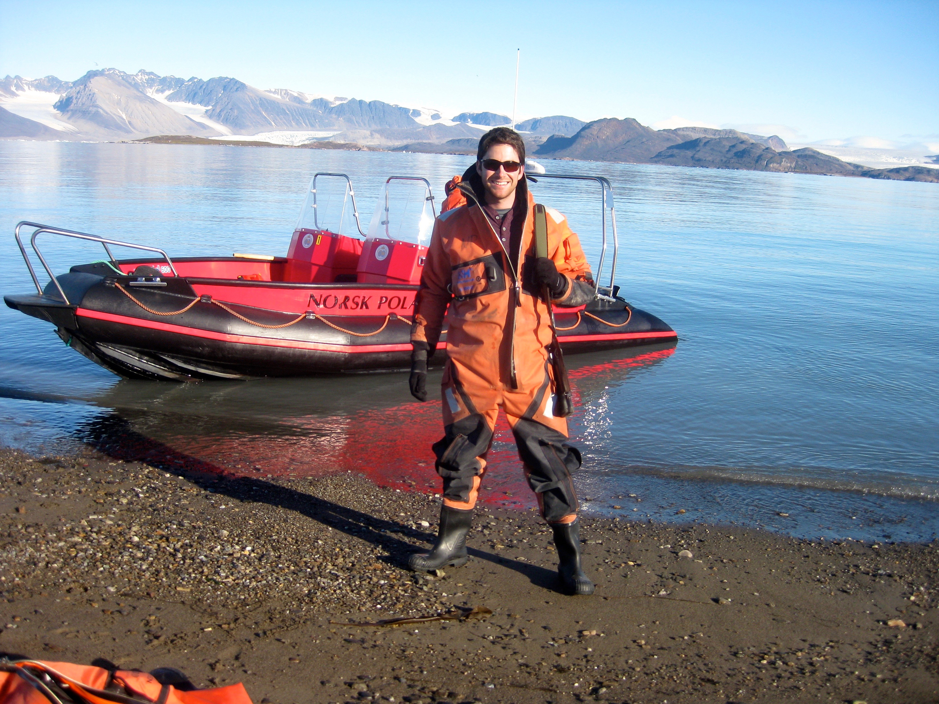 Myself suited up in a drysuit before taking the boat out to collect glacial runoff samples (again near Ny-Ålesund, Norway) in summer