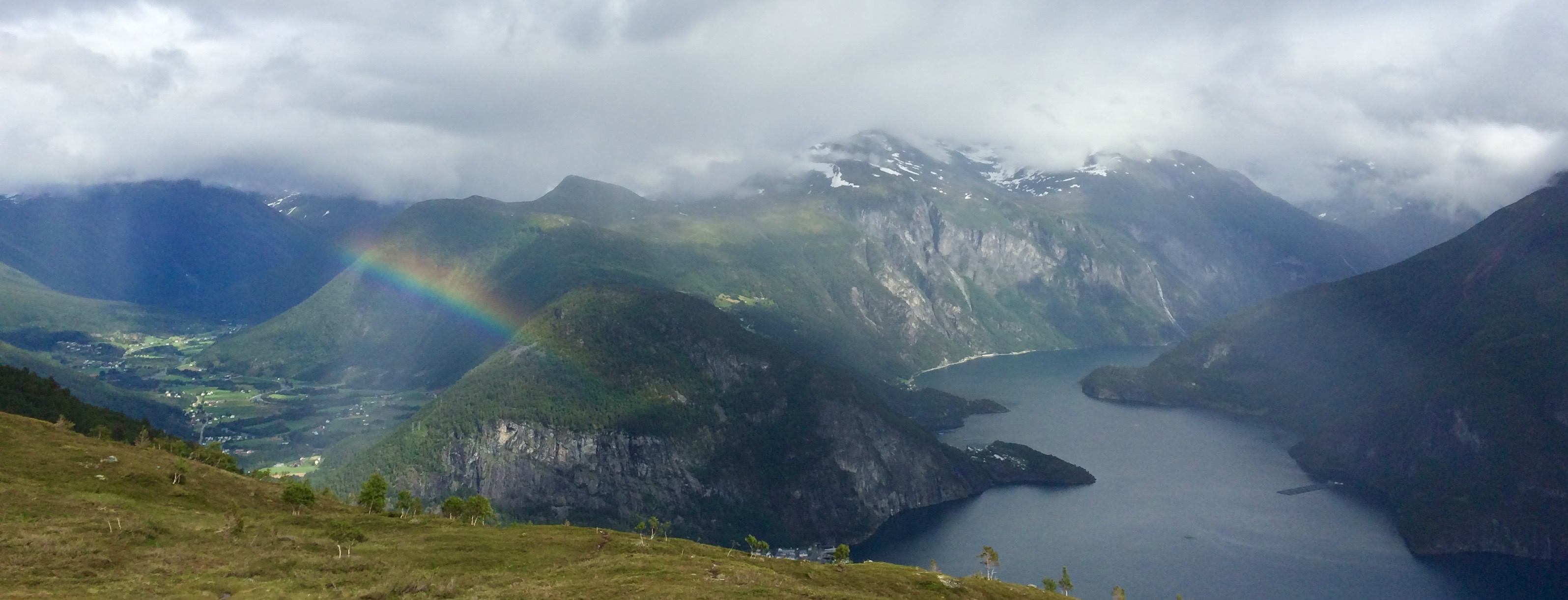 Rainbow over Norwegian area of Valldal