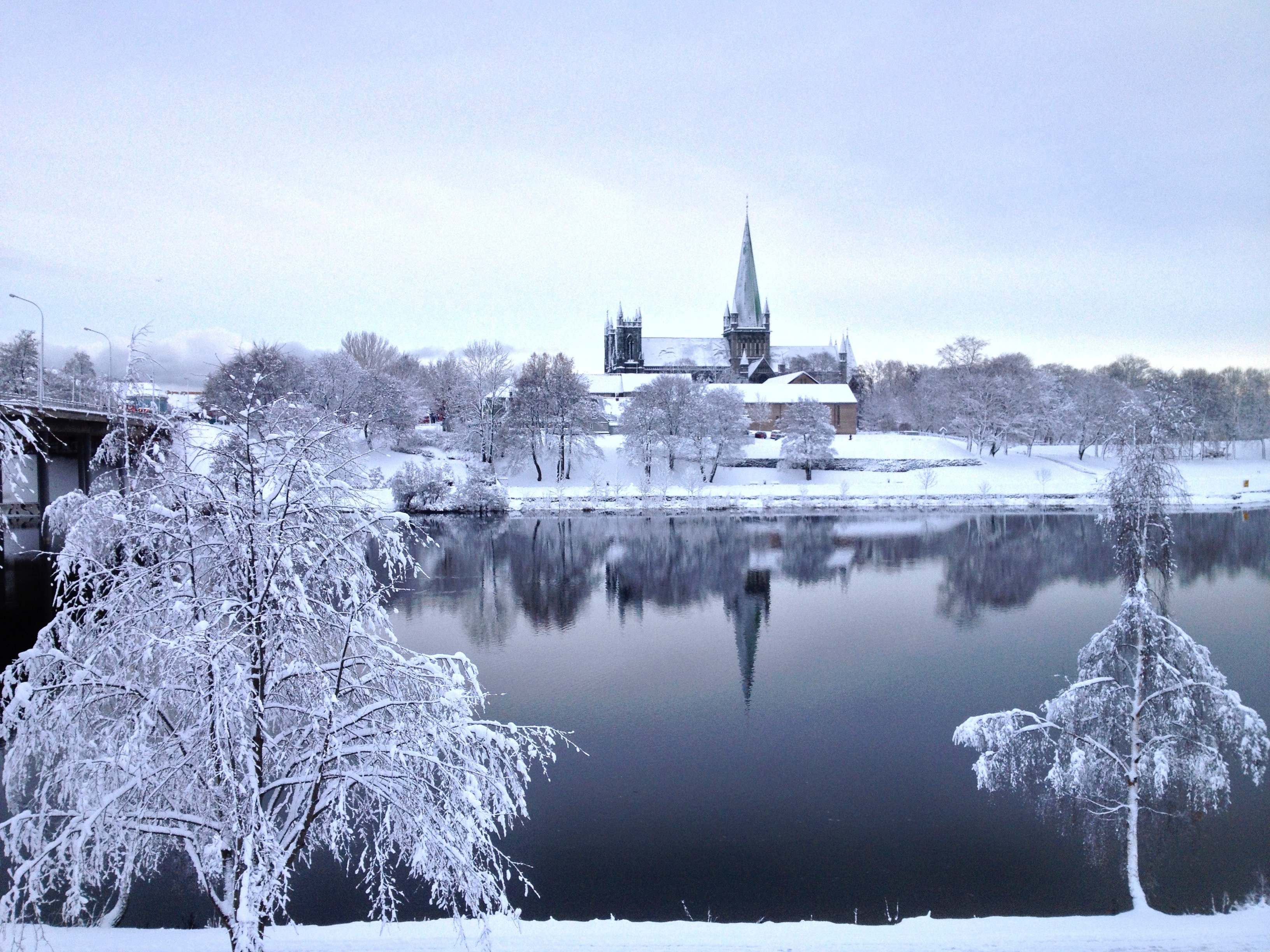 Trondheim church (called Nidarosdomen) in winter
