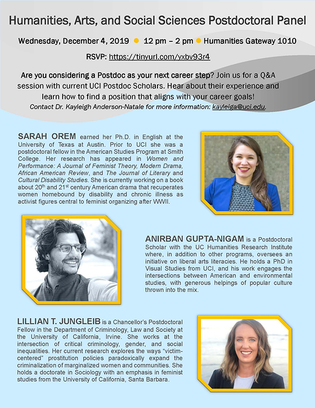 Postdoc panel flier with list of speakers