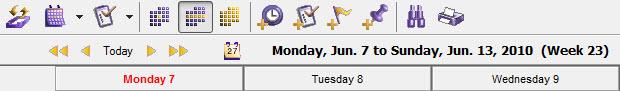 Oracle Calendar tool bar