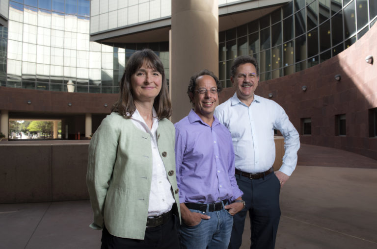 UCI's Marian Waterman, professor of microbiology & molecular genetics; John Lowengrub, Chancellor's Professor of mathematics; and Arthur Lander, Donald Bren Professor of Developmental & Cell Biology, (from left) received a $10 million National Cancer Institute grant to establish the UCI Center for Cancer Systems Biology.  Steve Zylius / UCI