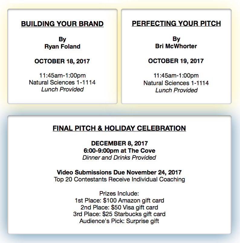 3rd annual elevator pitch series!