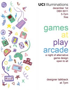 Flyer for Games at Play event at UCI December 2018