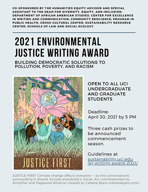 Flyer for the 2021 Environmental Justice Writing Award