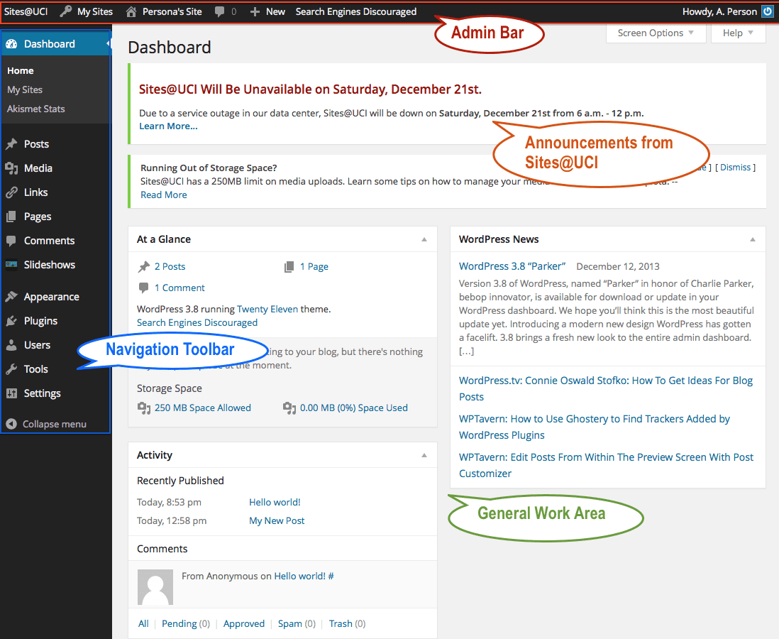 WordPress Dashboard and Admin Interface