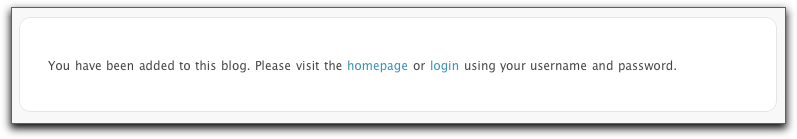 Screenshot: new user invitation