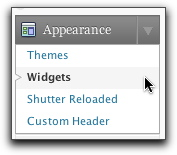 Appearance > Widgets