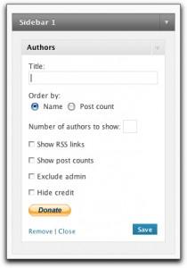 Authors Widget Configuration