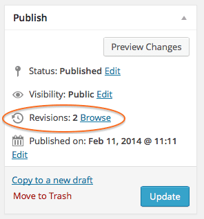 Revisions in Publish pane