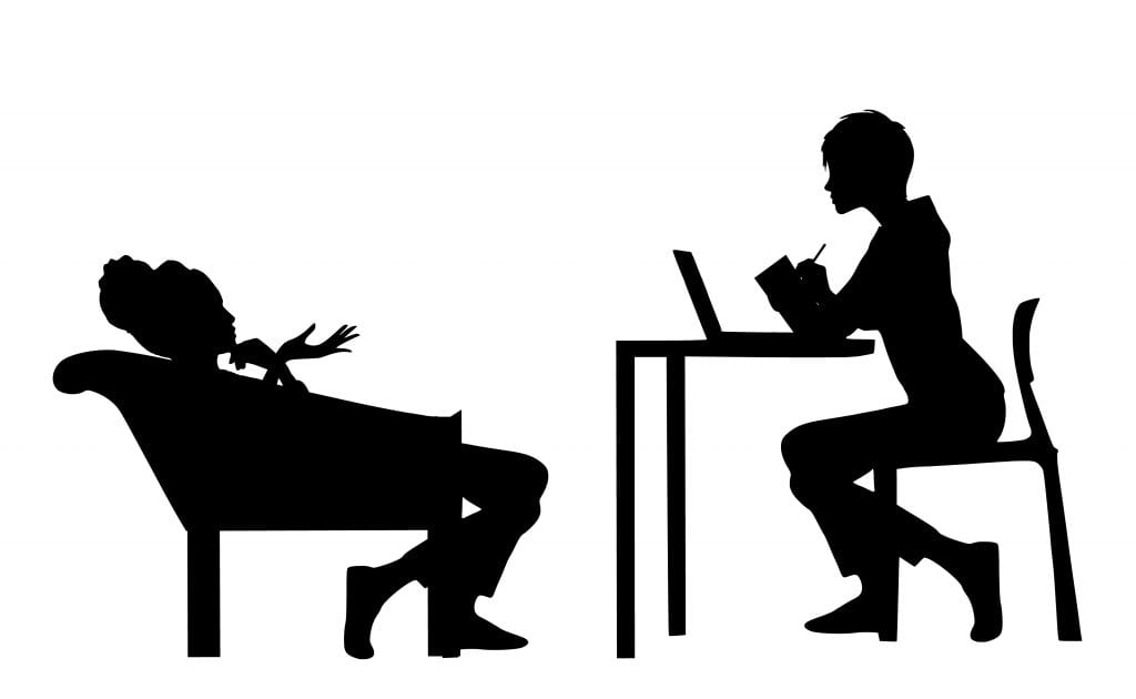 Illustration of two women in silhouette. One in a chair and the other at a desk.