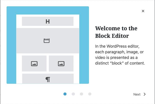 Welcome to the Block Editor screenshot