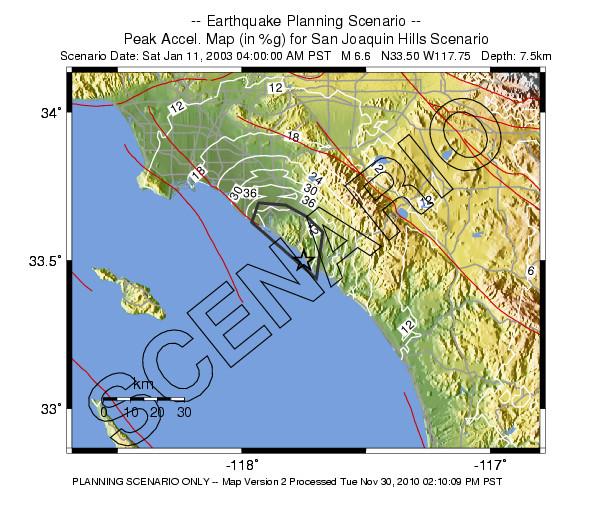 San Juan Hills fault scenario acceleration contours in percent of g