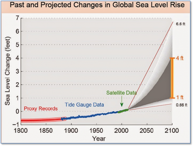 past and projected sea level rise