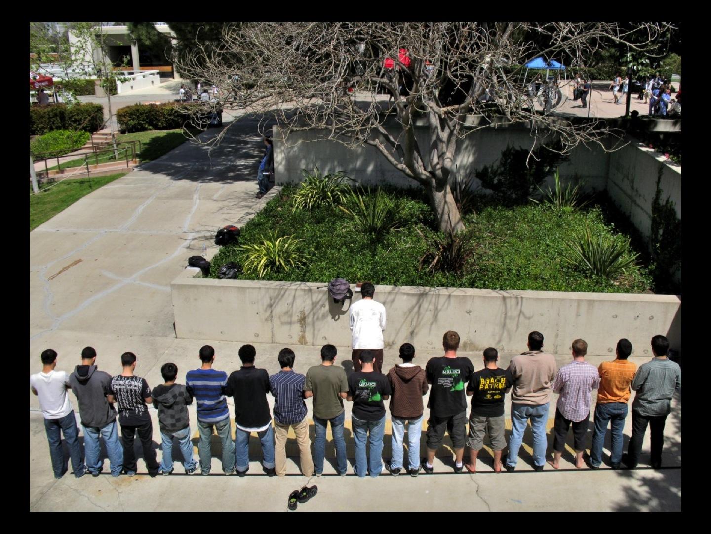 Line of men
