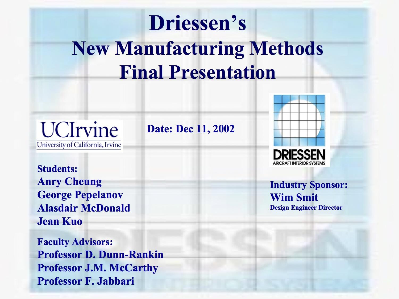 2002 Fall Driessen Aircraft Interior Systems